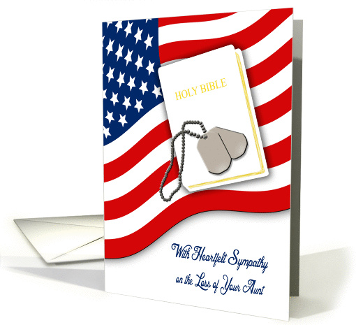 Military Sympathy for Loss of Aunt - American Flag,... (1400288)