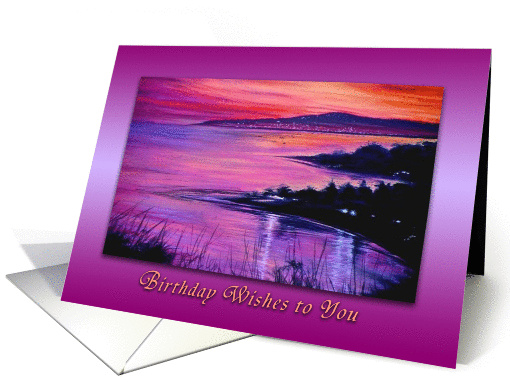 Coral Beach Sunset Birthday Wishes to You card (1074128)