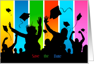 Colorful Graduation Save the Date Silhouette card
