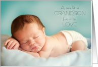 New Grandson to Love Thank you making us Grandparents blue sleeping baby card