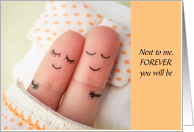 Sleeping Finger Couple Next to Me Forever Anniversary Slumber Party Card