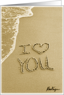 I Love You written in the sand Valentine's Day card