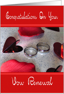 Vow Renewal - Rings Hearts & Rose Petals card