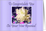Vow Renewal - White Roses & Confetti card