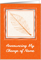 Announcement - Change Of Name, Skeleton Leaf card