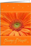 Announcement - Change Of Name, Gerbera card