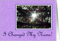 Change Of Name - Sunrays In Tree card