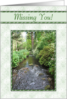 Missing You - Sunrays Over Stream, Green Starry Frame card