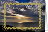 Announcement - Change Of Name, Sunrays Over Ocean card