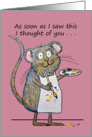 Thinking of You Whimsical Mouse Artist Painting Miss You card
