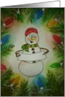 Personalize Merry Christmas Snowman Watercolor card
