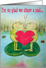 Happy Valentine Frog Funny Humor Cute St. Valentine's Day Card