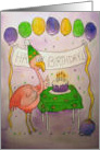 Flamingo Pink Happy Birthday Cake Balloons card