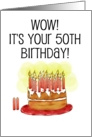 Happy Birthday 50th Whimsical Cake Card