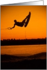 Wake Boarding Water Sports Flying High Brilliant Orange Paper Greeting Note Card