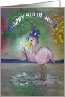 Pink Flamingo 4th of July Independence Day Paper Card