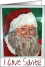 Patriotic Troops Military Deployment Santa Merry Christmas Painting Paper Card
