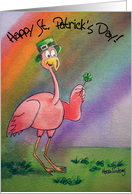Pink Flamingo Rainbow Happy St. Patrick's Day Paper Card