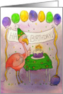 Pink Flamingo Bird Happy Birthday Paper Greeting Cards