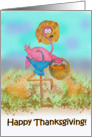 Pink Flamingo Happy Thanksgiving Pumpkin Patch Farm Card