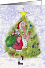 Pink Flamingo Santa Christmas Merry Tree Whimsical Card
