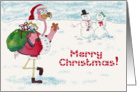 Pink Flamingo Merry Christmas Snowman Santa Card