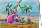 Pink Flamingo Serving Drinks Beach Bar Tropical Card