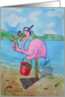 Pink Flamingo Snorkle Sea Shells Ocean Beach Retirement Congratulations card
