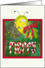 Sexy Bee Merry Whimsical Mistletoe Christmas Candycane Card