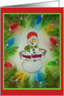 Happy Snowman Whimsical Lights Happy Holidays Watercolor Card