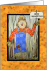 Happy Thanksgiving Scarecrow Hearts Watercolor Painting card