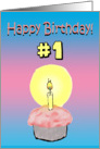 Happy Birthday 1st First 1 Year Old Cupcake Candles Card