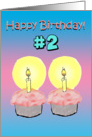 Happy Birthday 2 Two Years Old Cupcake Candles Card