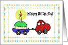 Happy Whimsical Car Birthday Cupcake Trailer Card Blank card