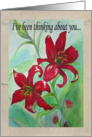 Watercolor Red Flowers Thinking of You Art Card Blank Inside card