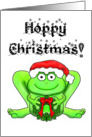 Merry Happy Hoppy Christmas Frog Santa Holiday Wreath card