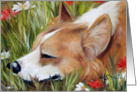 Pembroke Welsh Corgi Dog - Flower Bed card