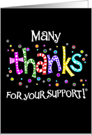 many thanks for your support card