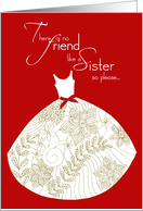 sister be my matron of honor card