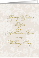 future parents-in-law on my wedding day, elegant card