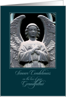 angel statue condolences for grandfather card