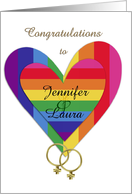 Customizable lesbian wedding congratulations card