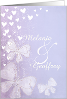 lavender save the date announcement with hearts and butterflies card