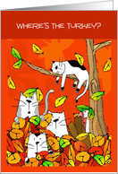 Thanksgiving Cats Looking through Fall Leaves for Turkey card