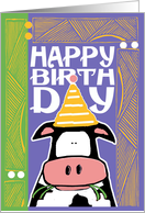 Happy Birthday Cow, Birthday Cute Farm Animals card