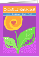 Congratulations! Weight loss 100 lbs yellow flower and heart card