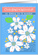 Congratulations! Dieting 3 Months White Flowers card