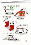 Exhausted Christmas Cats with Presents Stockings and Candy Canes card