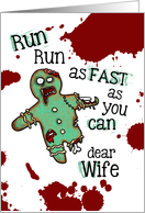 for Wife - Undead Gingerbread Man - Zombie Christmas card