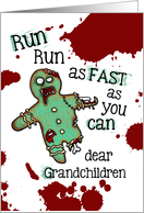 for Grandchildren - Undead Gingerbread Man - Zombie Christmas card